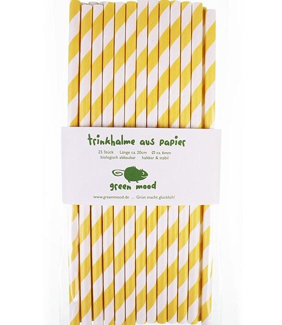 Trinkhalme Streifen Gelb/Weiss, 25 Stück