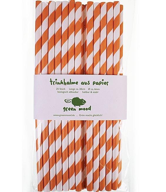 Trinkhalme Streifen Orange/Weiss, 25 Stück