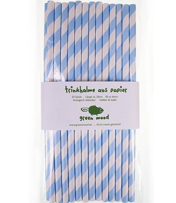 Trinkhalme Streifen Hellblau/Weiss, 25 Stück