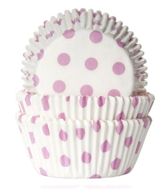 Muffinförmchen Weiss/Rosa gepunkte, 50 Stückt