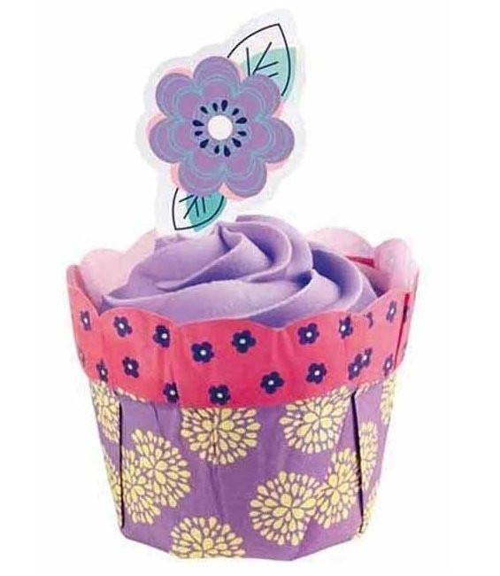 Muffinförmchen Blumentöpfchen Lila, 12 Stück