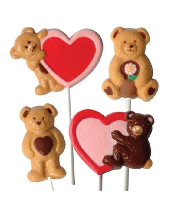 Schokolutscher Form Teddy & Herzen
